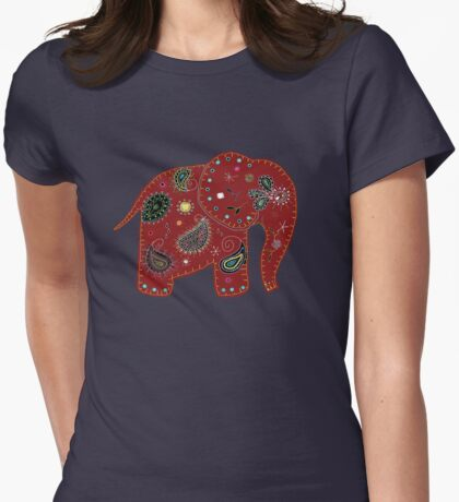 Red embroidered elephant Womens Fitted T-Shirt