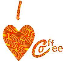 I Love Coffee Peach And Yellow by Kathleen   Sartoris