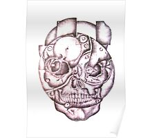 Human Skull with Clock Mechanism Poster