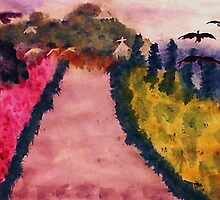 Down the lane (Fauve), watercolor by Anna  Lewis