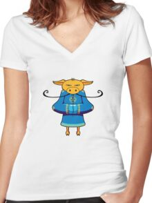 ninjitzoo - mooshu Women's Fitted V-Neck T-Shirt