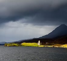 Ardcreck Castle and Quinag, Loch Assynt, Scotland by a h