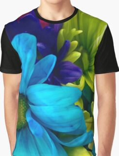 Blue and Green Flowers  Graphic T-Shirt