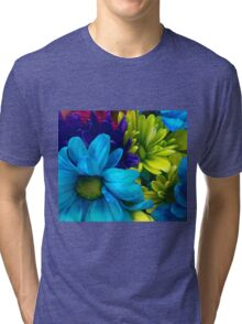 Blue and Green Flowers  Tri-blend T-Shirt