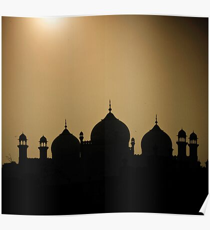 silhouette of minarets and dome  Poster
