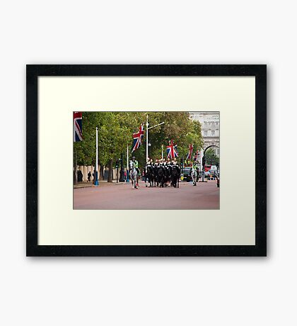 Horse Guards and Police Escort in The Mall Framed Print