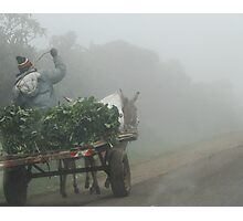 Off to market one misty morning Photographic Print