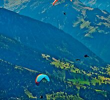 Parasailers and ravens flying in the Swiss Alps by Michael Brewer