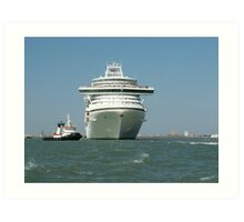 Ocean liner and boat  Art Print