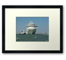 Ocean liner and boat  Framed Print