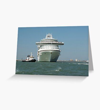 Ocean liner and boat  Greeting Card