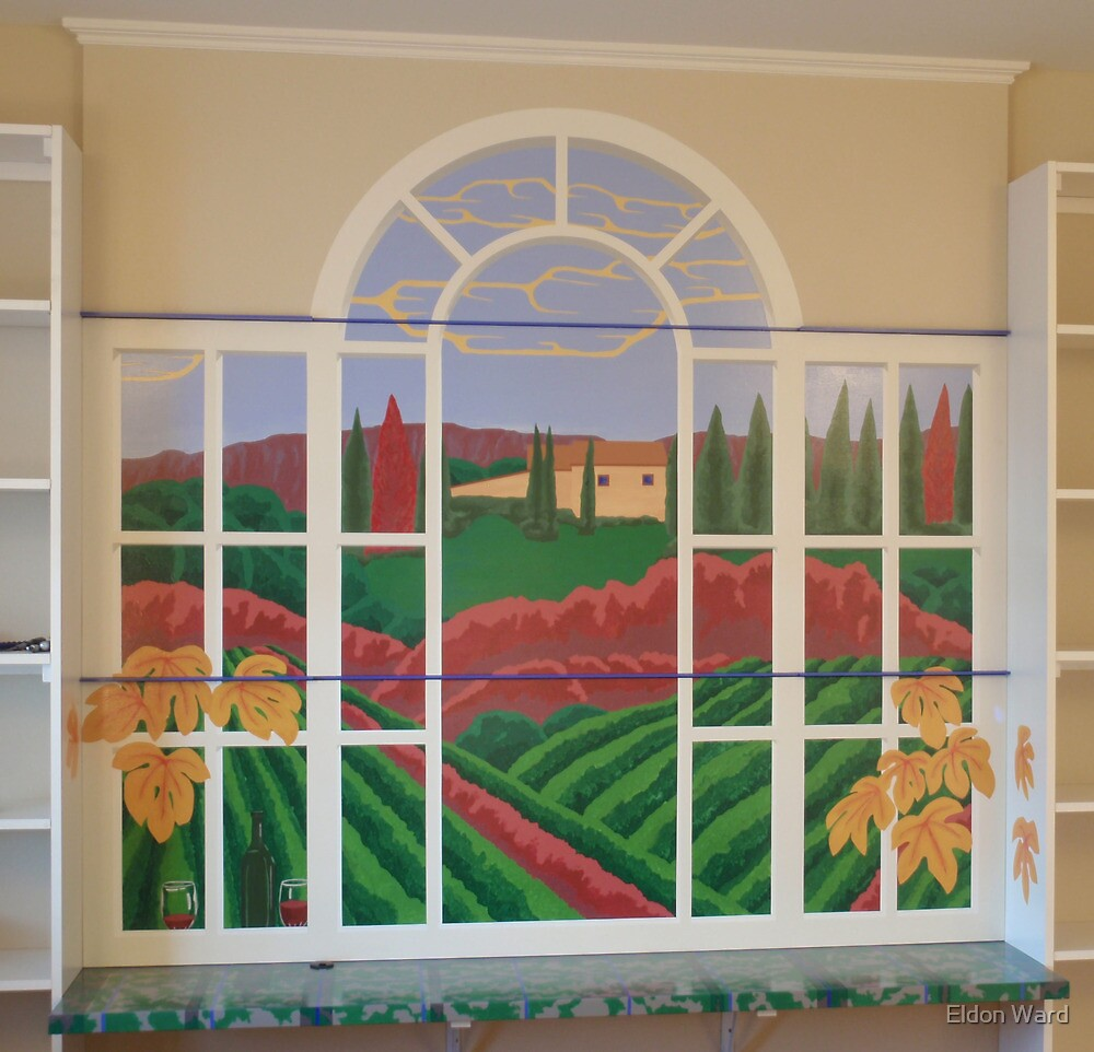 Tuscan Vineyard Mural by Eldon Ward