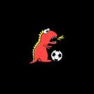 Funny Cartoon Dinosaur Soccer iPhone Case by Boriana Giormova
