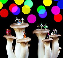 Dancing on mushroom under starry night by Paul Ge