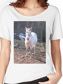 Pretty White Horse Standing in a Small Field Women's Relaxed Fit T-Shirt