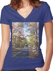 Rustic West Virginia Country Road in Autumn Women's Fitted V-Neck T-Shirt