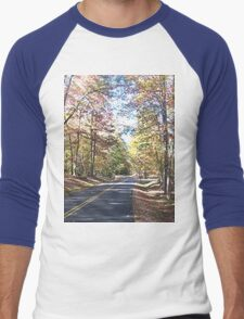 Rustic West Virginia Country Road in Autumn Men's Baseball ¾ T-Shirt