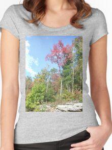 Pretty Rustic Appalachia Scene Rock & Trees Women's Fitted Scoop T-Shirt