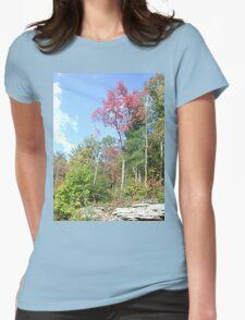 Pretty Rustic Appalachia Scene Rock & Trees Womens Fitted T-Shirt