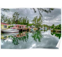 Reflections on The Canal at Coral Harbour Town in Nassau, The Bahamas Poster