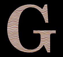 Letter G Metallic Look Stripes Silver Gold Copper by theartofvikki
