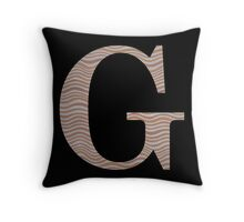 Letter G Metallic Look Stripes Silver Gold Copper Throw Pillow