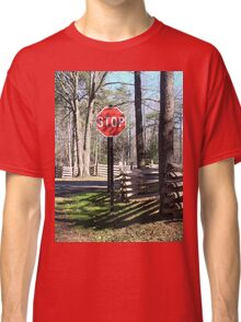 Stop Sign in a Rustic West Virginia Park Classic T-Shirt