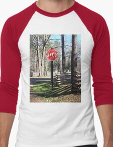 Stop Sign in a Rustic West Virginia Park Men's Baseball ¾ T-Shirt