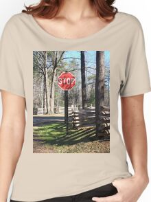 Stop Sign in a Rustic West Virginia Park Women's Relaxed Fit T-Shirt