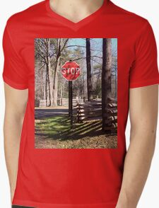 Stop Sign in a Rustic West Virginia Park Mens V-Neck T-Shirt
