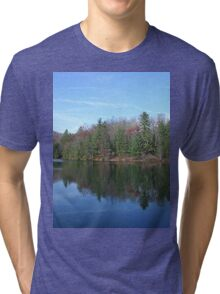 Scenic Glassy Mountain Lake Tri-blend T-Shirt