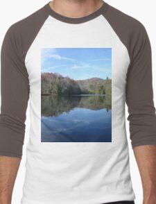 Scenic Glassy Country Lake Picture Men's Baseball ¾ T-Shirt