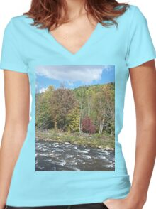 Pretty Rustic Autumn River Rapids Women's Fitted V-Neck T-Shirt