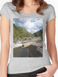 Gorgeous Rustic Appalachian River Scene Women's Fitted Scoop T-Shirt