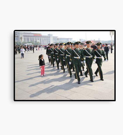Girl in Tiananmen square Canvas Print