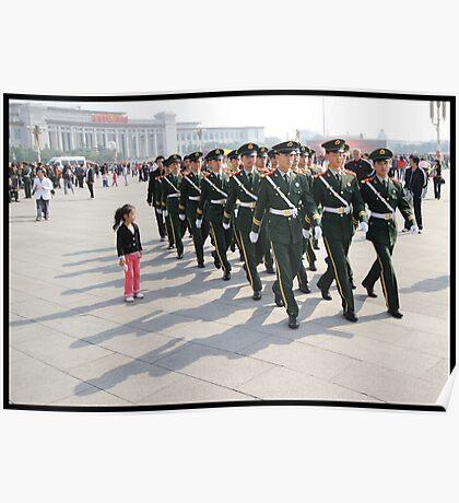 Girl in Tiananmen square Poster