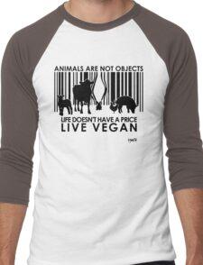 VeganChic ~ Animals Are Not Objects Men's Baseball ¾ T-Shirt