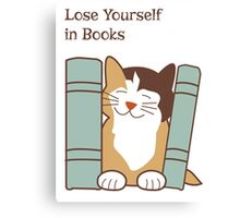 Lose Yourself in Books Cat Canvas Print