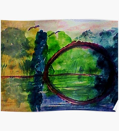 Romantic arch in the swamps, watercolor Poster