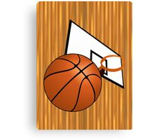 Basketball with Hoop Canvas Print