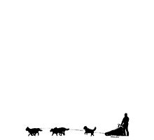 Alaskan Mushing Silhouette (black on white) by ginpix