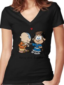 Aang & Katara (Avatar / Calvin & Hobbes) Women's Fitted V-Neck T-Shirt