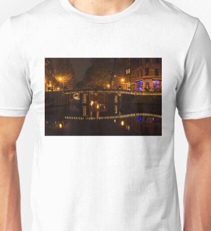 Amsterdam Night in Yellow and Purple Unisex T-Shirt