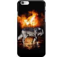 Grey Wolf Fire Flames Survivor iPhone Case iPhone Case/Skin