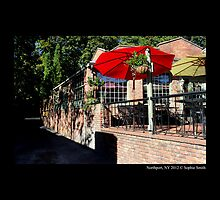 Main Street Cafe With Red And Yellow Umbrellas - Northport, New York by © Sophie W. Smith