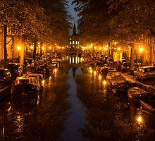 Amsterdam Canal in Golden Yellow by Georgia Mizuleva