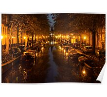 Amsterdam Canal in Golden Yellow Poster