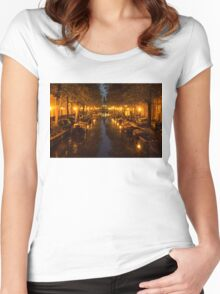 Amsterdam Canal in Golden Yellow Women's Fitted Scoop T-Shirt