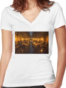 Amsterdam Canal in Golden Yellow Women's Fitted V-Neck T-Shirt