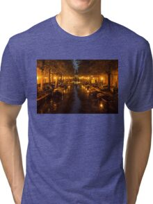 Amsterdam Canal in Golden Yellow Tri-blend T-Shirt